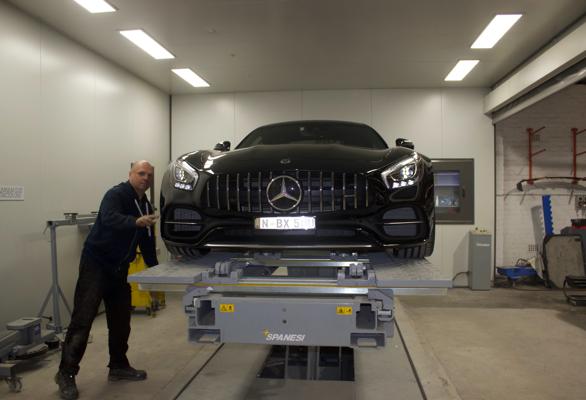Mercedes on alignment rack