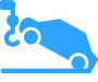 Car Being Towed Blue Icon